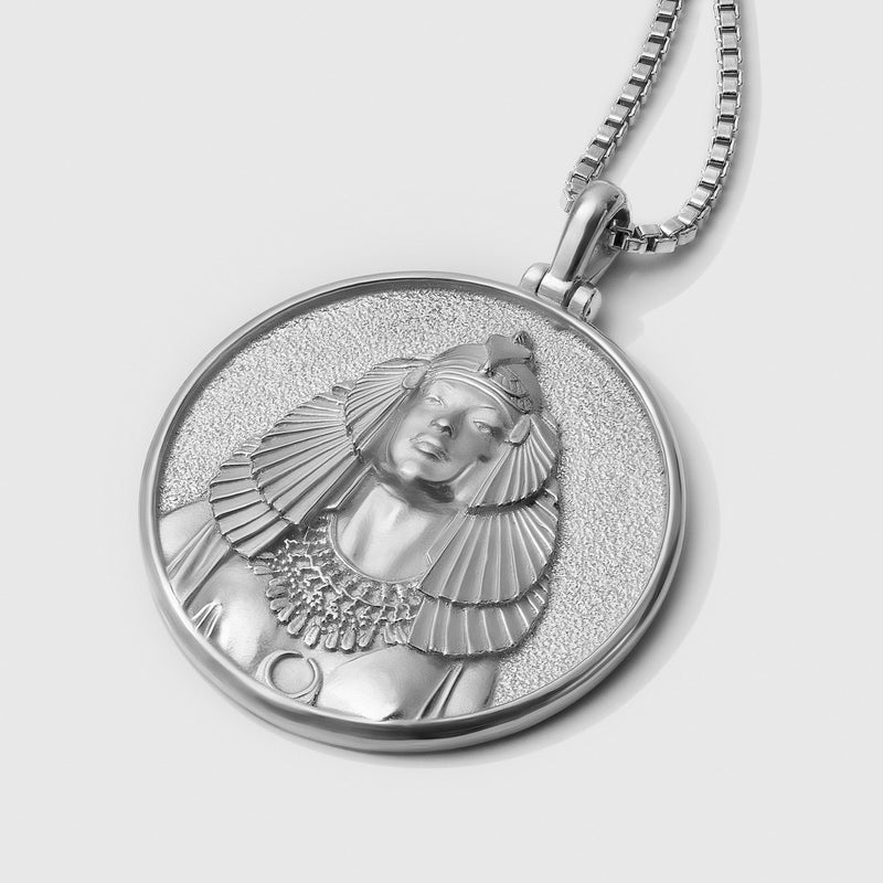 Cleopatra Coin Necklace - Solid 14k White Gold-Necklaces-Awe Inspired