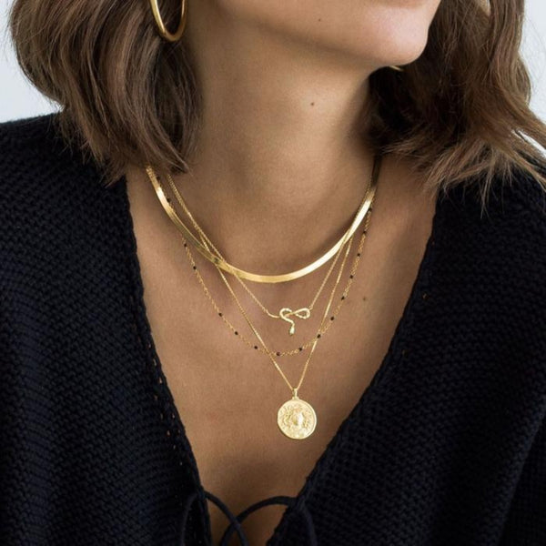 "Herringbone Necklace - (16"") - 14k Yellow Gold Vermeil-Necklaces-Awe Inspired"