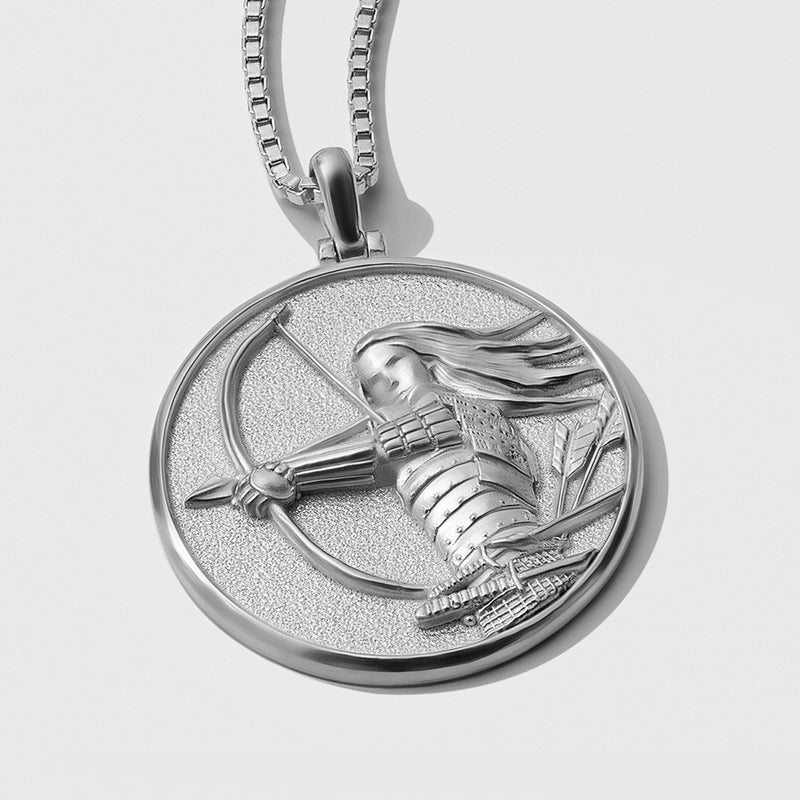 Mulan Coin Necklace - Solid 14k White Gold-Necklaces-Awe Inspired