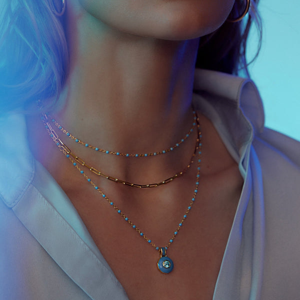 Blue Aura Necklace-Necklaces-Awe Inspired
