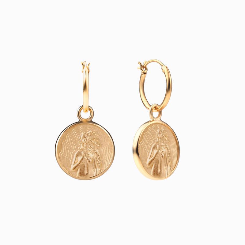 Aphrodite Coin Earrings - 14k Yellow Gold Vermeil-Earrings-Awe Inspired