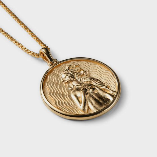 SOLID 14K YELLOW GOLD APHRODITE COIN NECKLACE-Necklaces-Awe Inspired