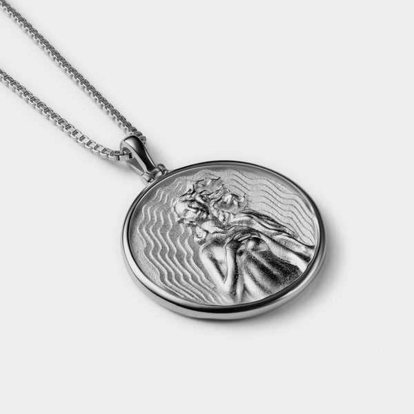 SOLID 14K WHITE GOLD APHRODITE COIN NECKLACE-Necklaces-Awe Inspired