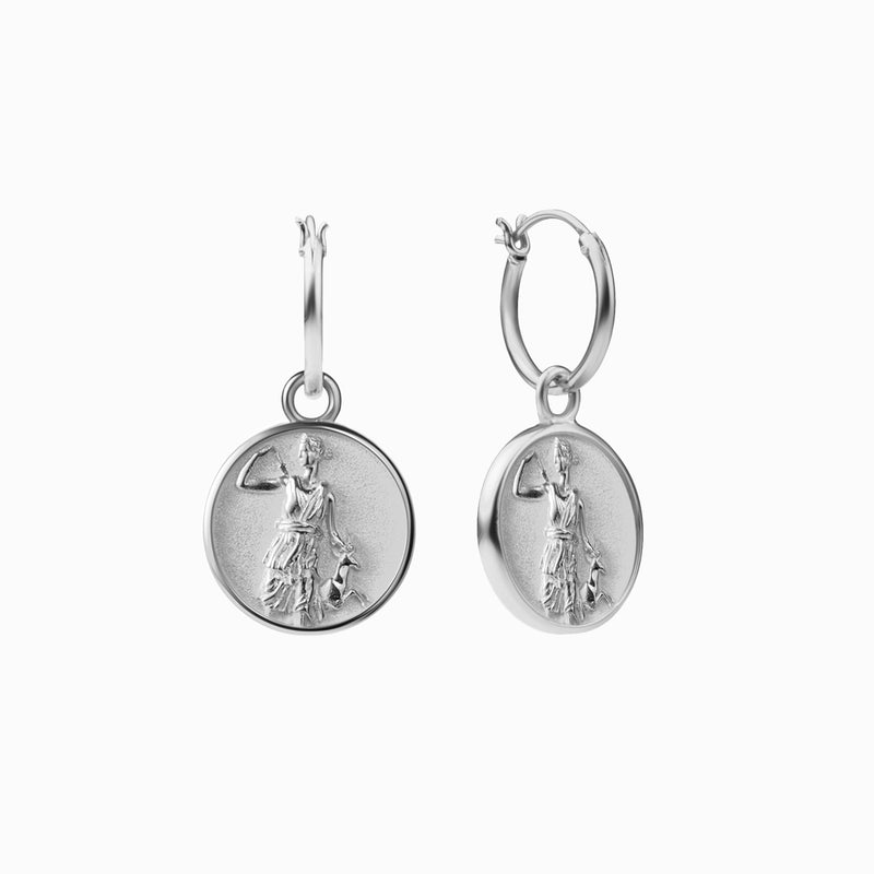 Artemis Coin Earrings - Sterling Silver-Earrings-Awe Inspired