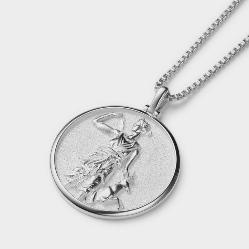 Artemis Coin Necklace - Solid 14k White Gold-Necklaces-Awe Inspired