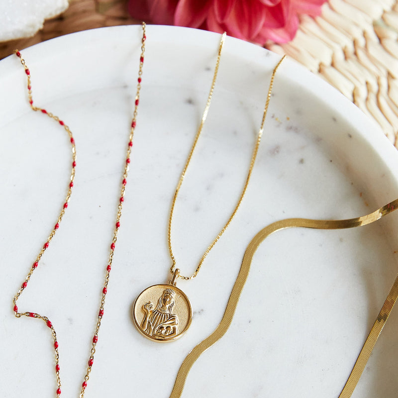Solid 14K Yellow Gold Persephone Coin Necklace-Necklaces-Awe Inspired