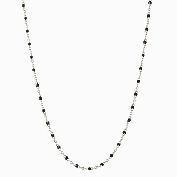 Enamel Beaded Necklace, Black - Sterling Silver-Necklaces-Awe Inspired