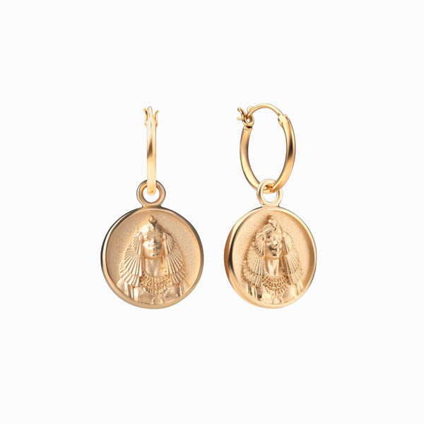 Cleopatra Coin Earrings - 14k Yellow Gold Vermeil-Earrings-Awe Inspired
