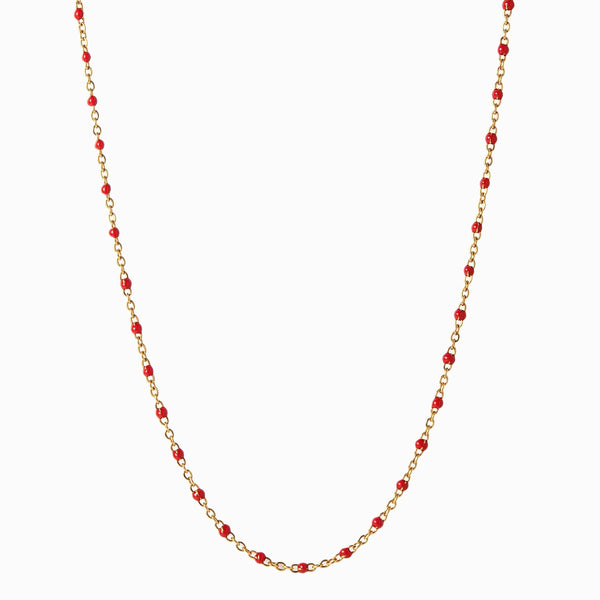 Enamel Beaded Necklace, Ruby - 14k Yellow Gold Vermeil-Necklaces-Awe Inspired