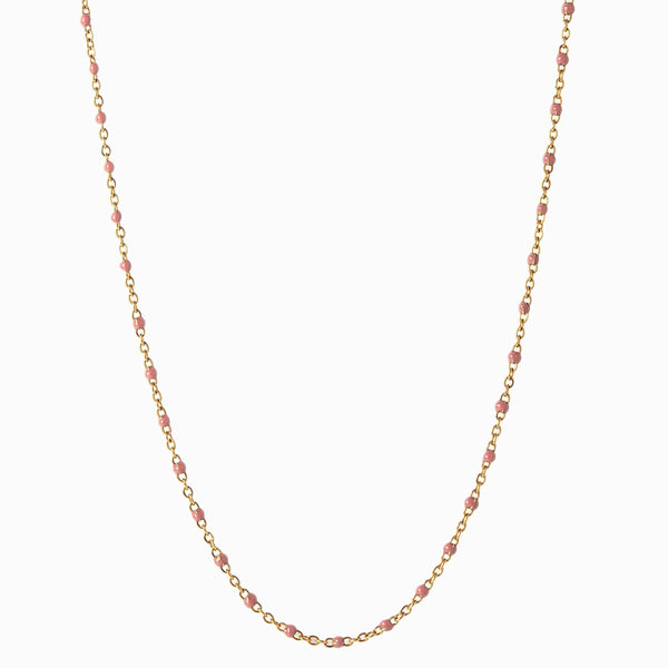 Enamel Beaded Necklace, Blush - 14k Yellow Gold Vermeil-Necklaces-Awe Inspired