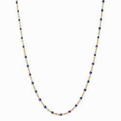 Enamel Beaded Necklace, Navy - 14k Yellow Gold Vermeil-Necklaces-Awe Inspired