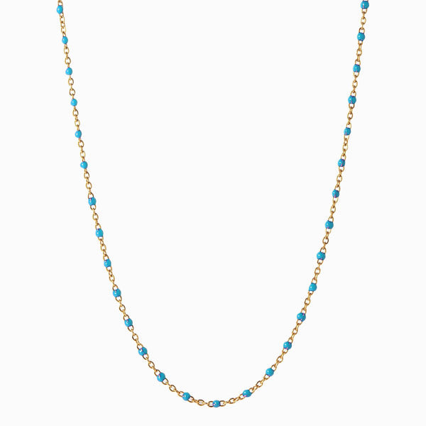 Turquoise Beaded Enamel Necklace-Necklaces-Awe Inspired