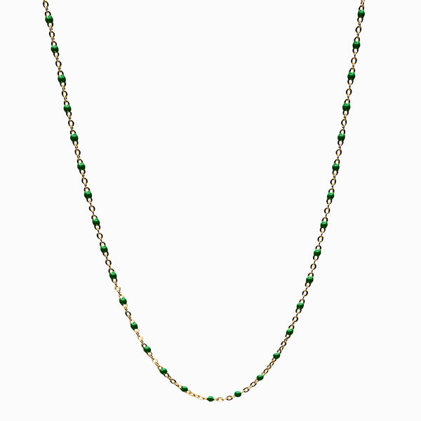 Green Beaded Enamel Necklace-Necklaces-Awe Inspired