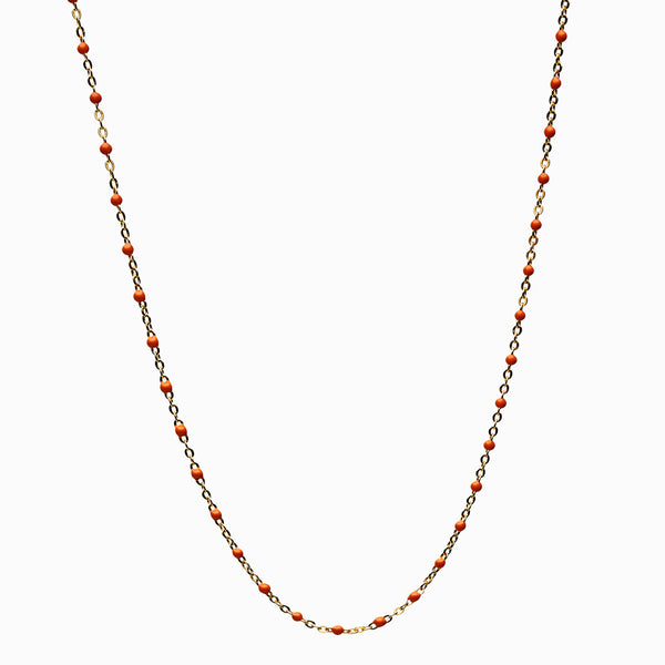 Orange Beaded Enamel Necklace-Necklaces-Awe Inspired