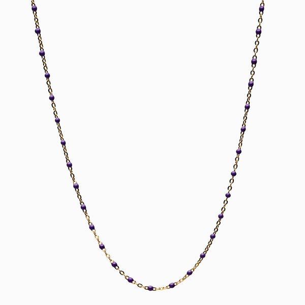 Violet Beaded Enamel Necklace-Necklaces-Awe Inspired