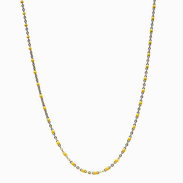 Yellow Beaded Enamel Necklace-Necklaces-Awe Inspired