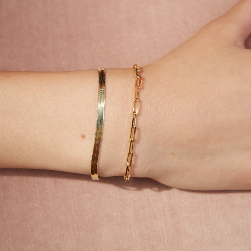 Paperclip Link Chain Bracelet - 14k Yellow Gold Vermeil-Bracelets-Awe Inspired