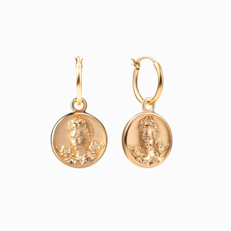 Frida Kahlo Coin Earrings - 14k Yellow Gold Vermeil-Earrings-Awe Inspired
