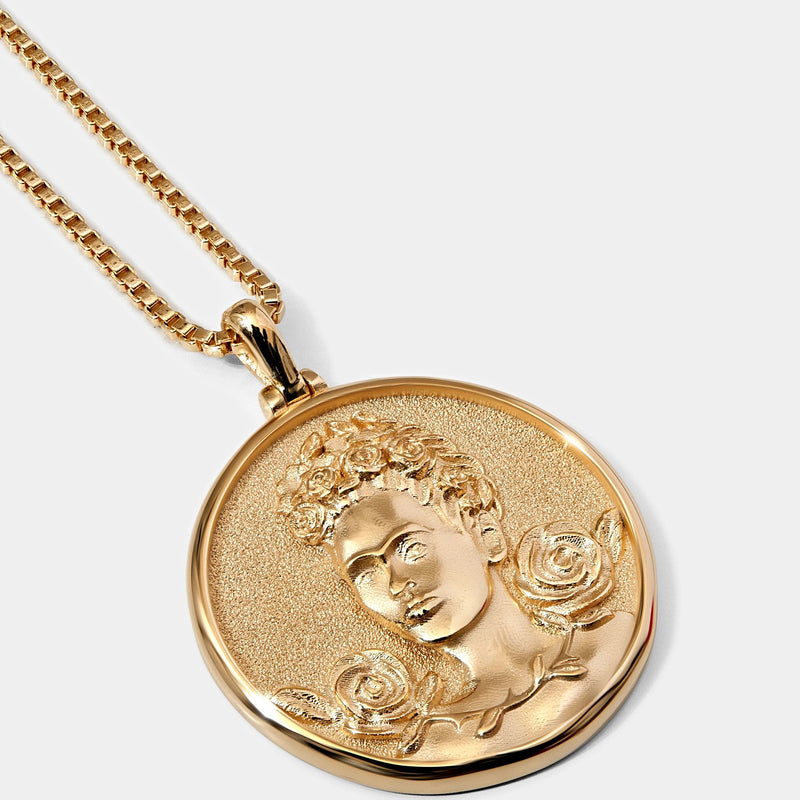 Frida Kahlo Coin Necklace - 14k Yellow Gold Vermeil-Necklaces-Awe Inspired