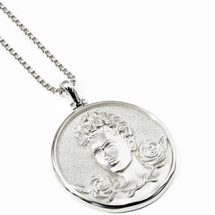 Solid 14k White Gold Frida Kahlo Necklace-Necklaces-Awe Inspired