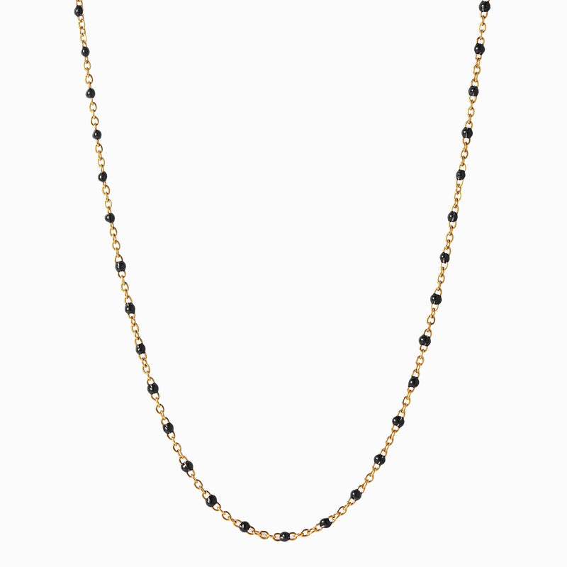 Enamel Beaded Necklace, Black - 14k Yellow Gold Vermeil-Necklaces-Awe Inspired