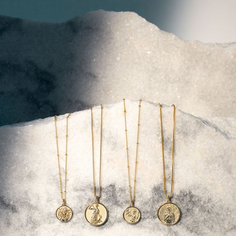 Aphrodite Coin Necklace - 14k Yellow Gold Vermeil-Necklaces-Awe Inspired