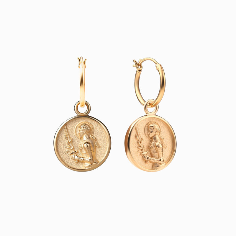 Joan of Arc Coin Earrings - 14k Yellow Gold Vermeil-Earrings-Awe Inspired