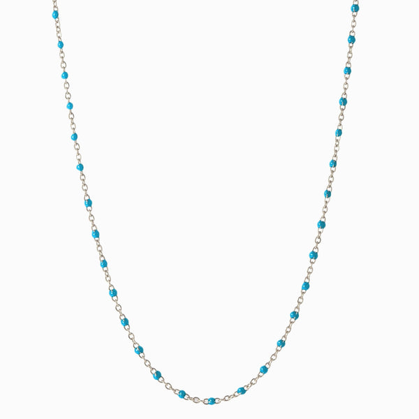 Enamel Beaded Necklace, Turquoise - Sterling Silver-Necklaces-Awe Inspired