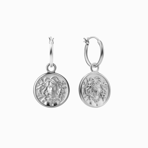 Medusa Coin Earrings - Sterling Silver-Earrings-Awe Inspired