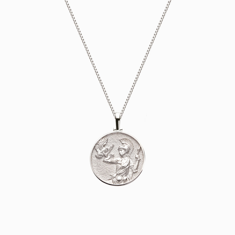 Solid 14k White Gold Mini Athena Necklace-Necklaces-Awe Inspired