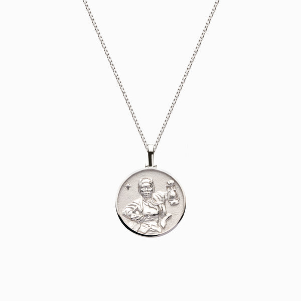 Solid 14k White Gold Mini Harriet Tubman Necklace-Necklaces-Awe Inspired