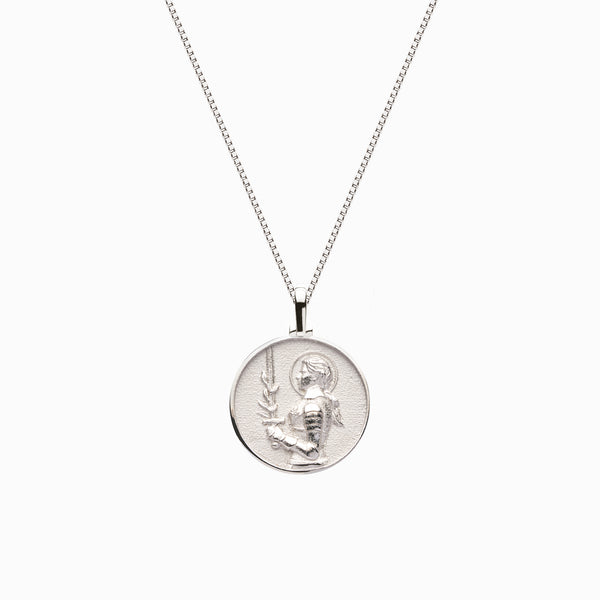 Solid 14k White Gold Mini Joan of Arc Necklace-Necklaces-Awe Inspired