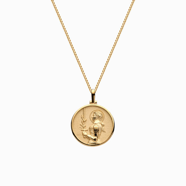 Solid 14k Yellow Gold Mini Joan of Arc Necklace-Necklaces-Awe Inspired