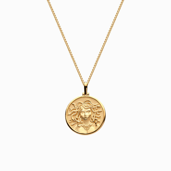 Solid 14k Yellow Gold Mini Medusa Necklace-Necklaces-Awe Inspired