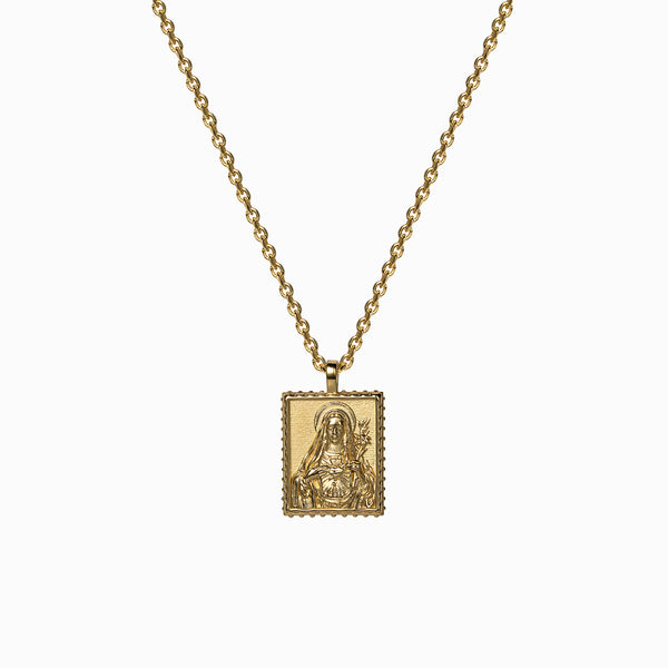 Mini Mother Mary Tablet Necklace-Necklaces-Awe Inspired