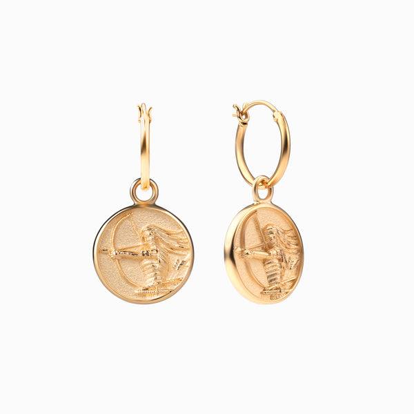 Mulan Coin Earrings - 14k Yellow Gold Vermeil-Earrings-Awe Inspired