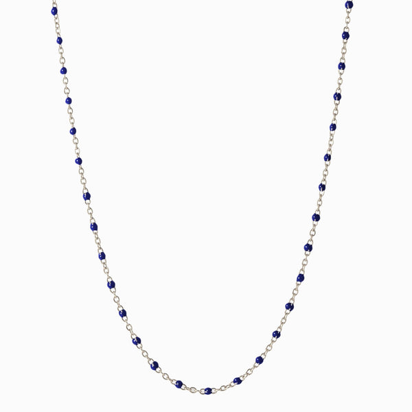 Enamel Beaded Necklace, Navy - Sterling Silver-Necklaces-Awe Inspired