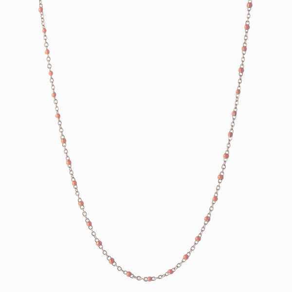Enamel Beaded Necklace, Blush - Sterling Silver-Necklaces-Awe Inspired