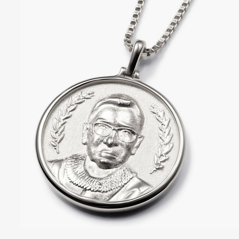 Ruth Bader Ginsburg Coin Necklace - Sterling Silver-Necklaces-Awe Inspired