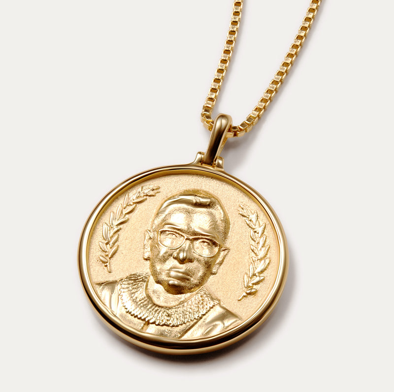 SOLID 14K YELLOW GOLD RUTH BADER GINSBURG COIN NECKLACE-Necklaces-Awe Inspired