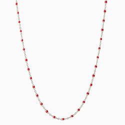 Enamel Beaded Necklace, Ruby - Sterling Silver-Necklaces-Awe Inspired