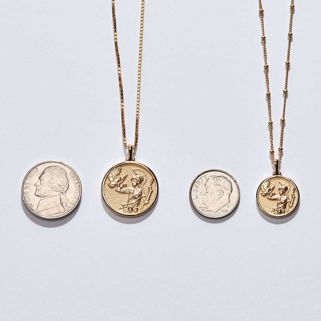 Solid 14k Yellow Gold Joan of Arc Necklace-Necklaces-Awe Inspired