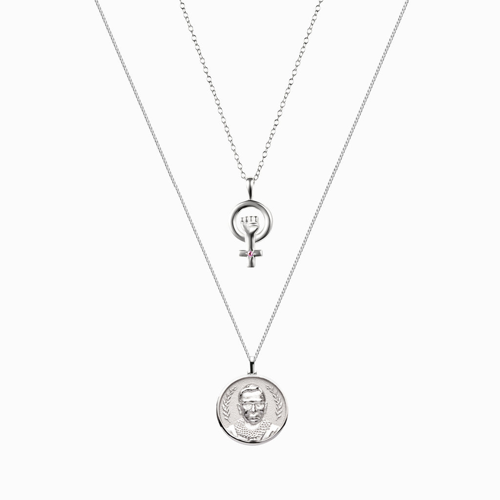 Ruth Bader Ginsburg + Woman Power Goddess Charm Necklace Set-Necklaces-Awe Inspired