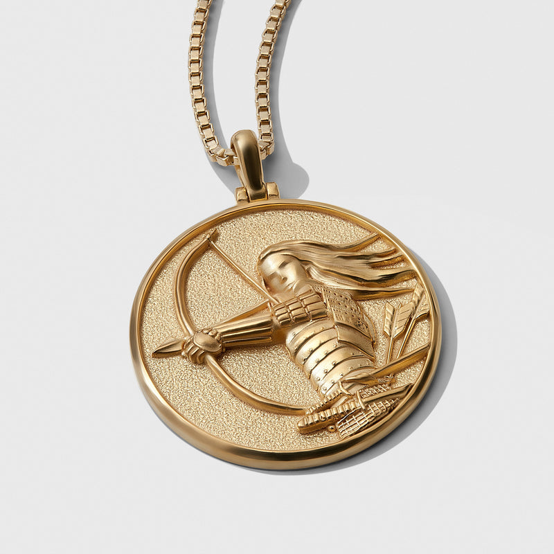 Mulan Coin Necklace - Solid 14k Yellow Gold-Necklaces-Awe Inspired