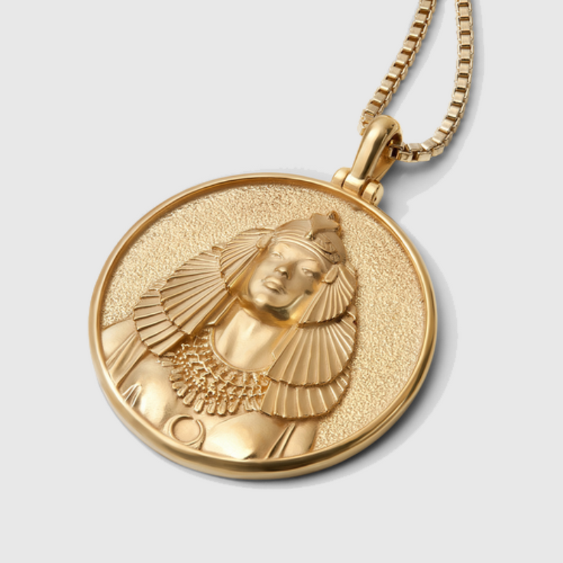 Cleopatra Coin Necklace - Solid 14k Yellow Gold-Necklaces-Awe Inspired