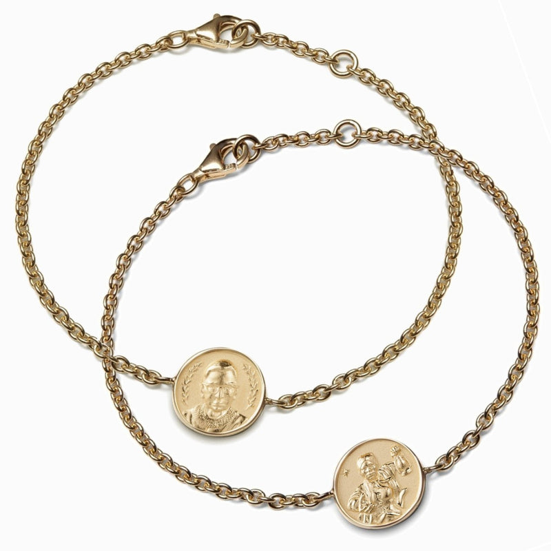 Harriet Tubman + RBG Bracelet Set - 14k Yellow Gold Vermeil-Bracelets-Awe Inspired