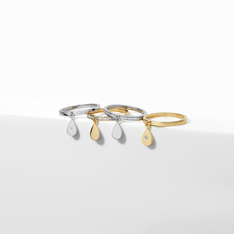 Pave Diamond Teardrop Ring-Rings-Awe Inspired