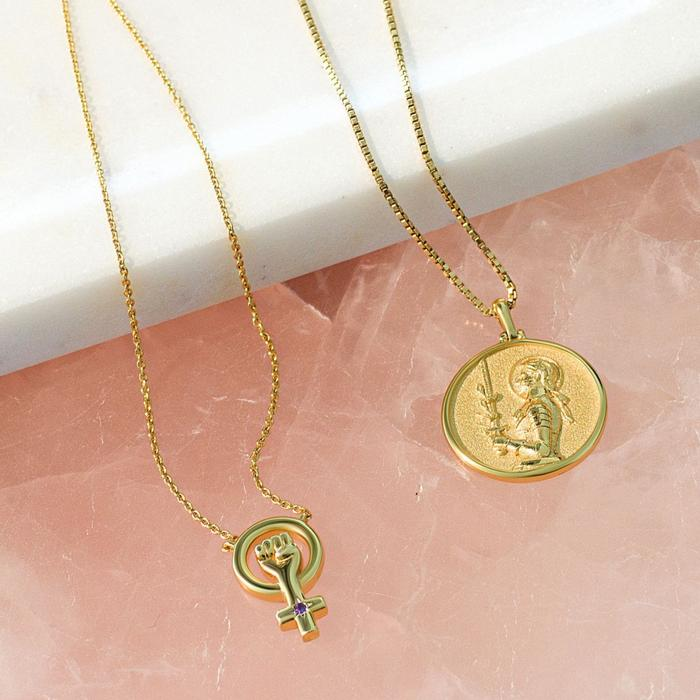 Joan of Arc Coin Necklace - Solid 14k Yellow Gold-Necklaces-Awe Inspired