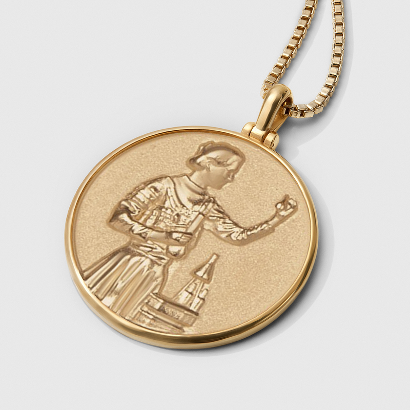 Marie Curie Coin Necklace - Solid 14k Yellow Gold-Necklaces-Awe Inspired