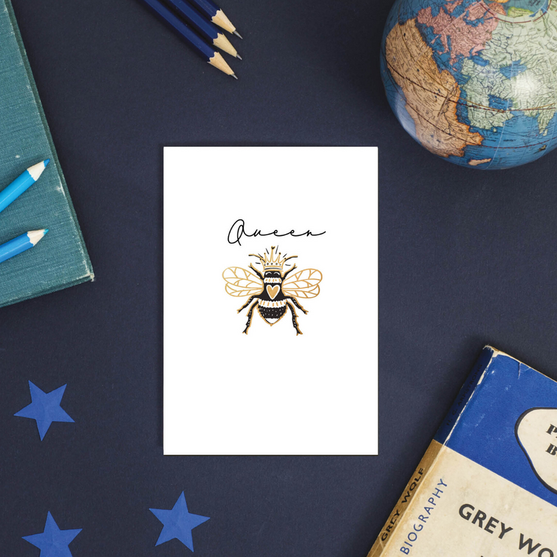 Queen Bumble Bee Rose Gold Foil Greeting Card